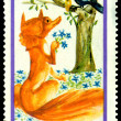 Vintage  postage stamp.  Fox and a raven — Stock Photo