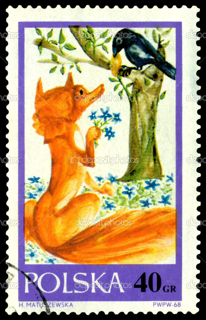 Poland- CIRCA 1968: a stamp printed by  Poland, shows drawings,  fox and a raven, circa 1968 — Stock Photo #2809755