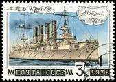 Estampilla. crucero varyag — Foto de Stock