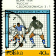 Vintage  postage stamp. World  football cup in Italy. — Stock Photo