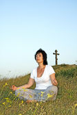 Woman concerns with yoga on sundown of the day.6. — Stock Photo