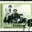 Vintage  postage stamp. 30 years film  CHapaev. - Stock Photo