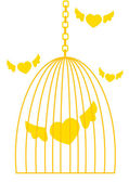 Cage with flying hearts — Vector de stock