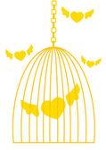 Kooi met vliegende harten — Stockvector