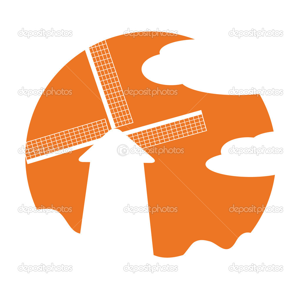 Vector windmill sign on orange background. Great for sticker  Stock Vector #3573550