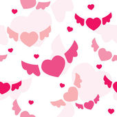 Seamless background with flying hearts — Stock Vector