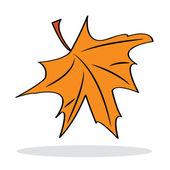Orange maple leaf with grey shadow — Stock Vector
