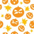Seamless halloween background with scary pumpkins — ストックベクタ