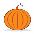 Orange pumpkin with grey shadow - Stock Vector