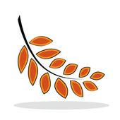 Orange blatt mit grauen schatten — Stockvektor