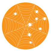 Orange halloween background with web — Stock Vector