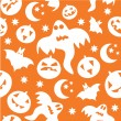 Stock Vector: Seamless halloween background with ghosts