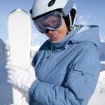 Girl with ski — Stock Photo