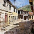 Old street of Bar town in Montenegro - Stock Photo
