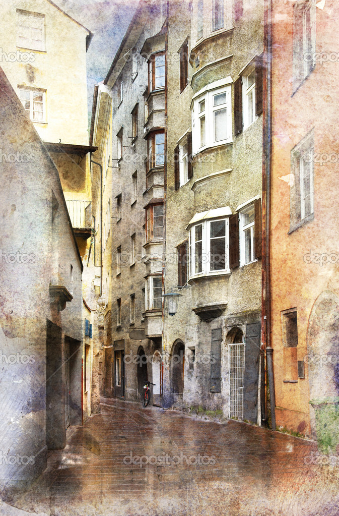 Streets of Innsbruck, Austria. Made in artistic watercolor style with texture                                — Stock Photo #3185150