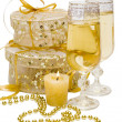 Gift boxes with candle - Stock Photo