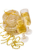 Gift boxes with champagne — Stock Photo
