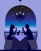 Romantik bir akşam yemeği tarihi — Stok Vektör