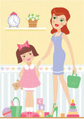 Mother with her daughter — Stock Vector