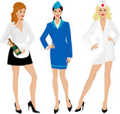 Stewardess, nurse and waitress — Stock Vector