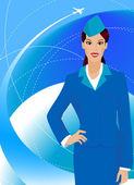 Beautiful stewardess — Stock Vector