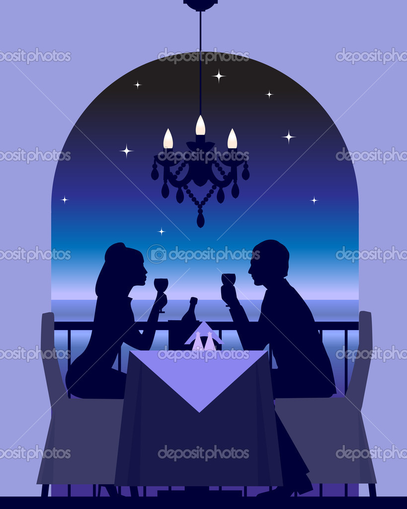 An elegant couple enjoying a romantic dinner date — ベクター素材ストック #3486337