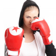 Beautiful woman with red boxing gloves — Stock Photo