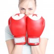 Beautiful woman with red boxing gloves — Stock Photo #2751412