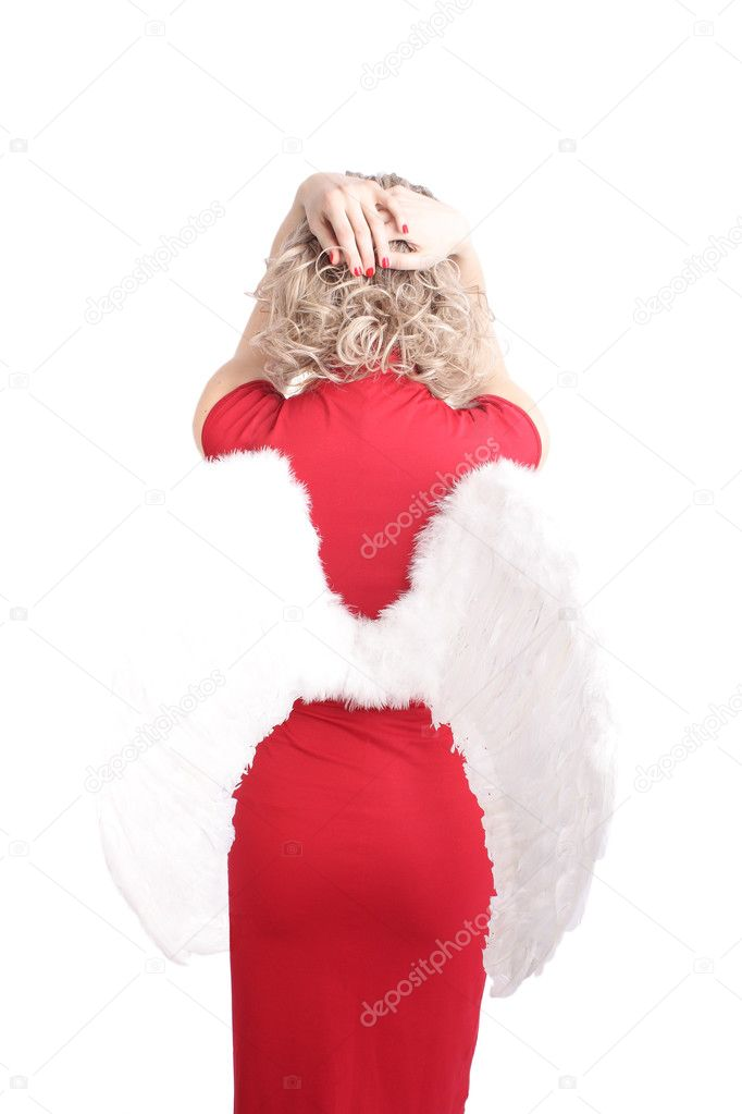 Portrait of woman in red dress  with angel wings — Stock Photo #2751334