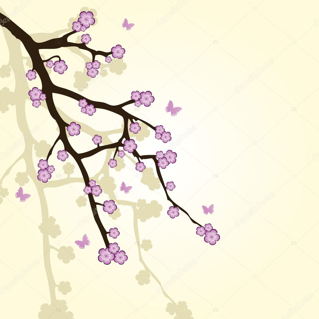 Abstract background with sakura branch — Stock Vector #2954918