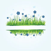 Floral frame with summer grass — Stock Vector
