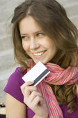 Plastic card for purchases — Stock Photo