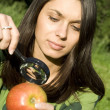 Checking the apple on the natural — Foto Stock