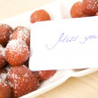 Strawberries with card miss you — Stok fotoğraf