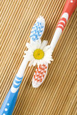 Two toothbrushes and chamomile — Stock Photo