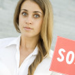 Business woman asks for help — Stock Photo