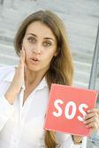 ビジネスの女性の助けが必要 — ストック写真