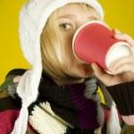 káva dívka — Stock fotografie