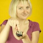 Woman & remote control — Stock Photo #3706802