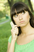 Female with cash — Stock Photo