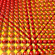 Stock Photo: Array of red spheres with binary numbers