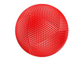 Red thorny textured sphere isolated — Stock Photo