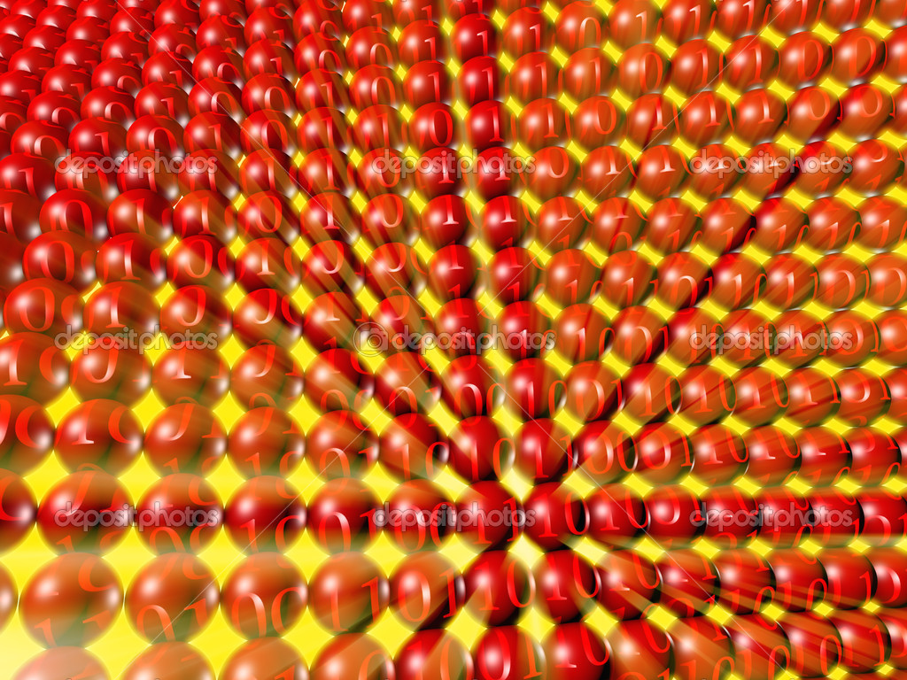 Array of red spheres with binary numbers and yellow light rays — Stock Photo #2822961