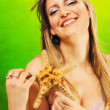 Royalty-Free Stock Photo: Beautiful blonde holding a starfish