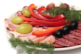 Dish with salami slices, meat — Stock Photo