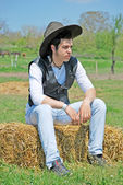 Young man on hay bale — Stock Photo