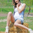 Beautiful girl on a hay bale — Stock Photo
