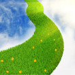 Stock Photo: 3d grassy road to sky