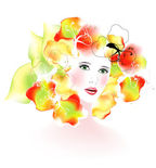 Vector spring girl. vector illustration — Stock Vector