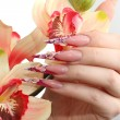 Manicured acrylic nails — ストック写真